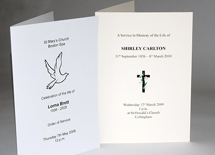 Funeral Order of Service: Wetherby / Leeds / West Yorkshire ...